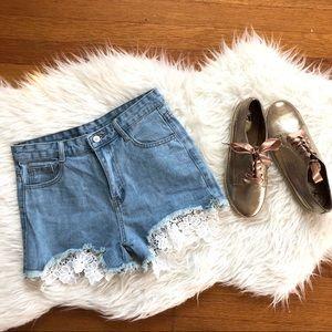 Pants - High Rise Lace Cutoff Denim Shorts